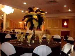 rent vegas themed black u0026 gold ostrich feather centerpieces by