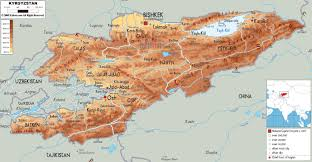 Geographical Map Of China by Large Detailed Physical Map Of Kyrgyzstan Kyrgyzstan Large