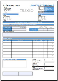 free construction invoice template for excel 2007 2016