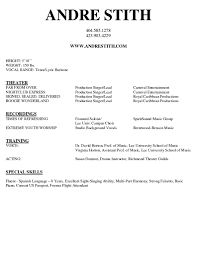 Musician Resume Template Cover Letter Performing Arts Resume Template Performing Arts