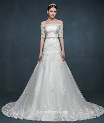 winter wedding dress vintage the shoulder half sleeves lace winter wedding dress