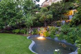 architecture koi pond design with underwater lights and lawn also