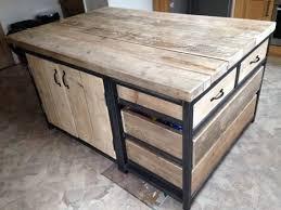 meuble cuisine industriel îlot de cuisine en acier industriel récupéré avec tiroirs et