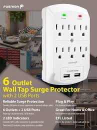 ge surge protector red light amazon com 6 outlet wall adapter tap with usb charger fosmon 3