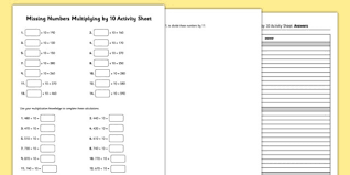 year 3 multiplying by 10 missing numbers activity sheet year