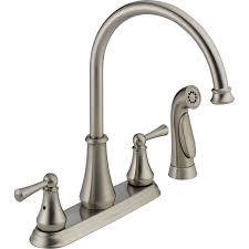delta kitchen faucets reviews shop delta lewiston stainless 2 handle deck mount high arc kitchen