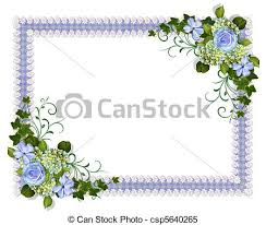 wedding invitation blue floral illustration and image stock