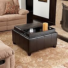 amazon com berkeley brown leather square storage ottoman kitchen