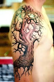 back shoulder tree tattoos