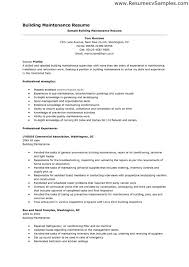 Maintenance Mechanic Resume Examples by Hotel Maintenance Job Resume Contegri Com