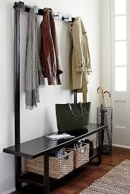 Entryway Storage Bench With Coat Rack Decor Black Metal Entryway Storage Bench And Coat Rack For