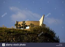 ultra modern space age house on a hill overlooking the beach stock