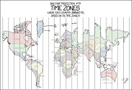 World Map With Time Zones Bad Map Projection Time Zones Https Xkcd Com 1799 Xkcd