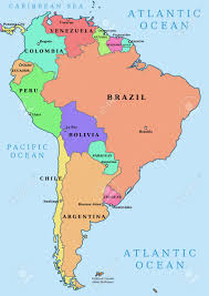 Different Countries And Their Flags South America Map Countries And Capitals Map Of South America