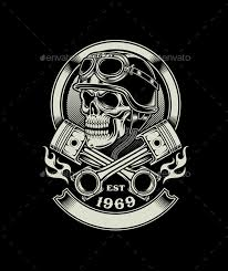 vintage biker skull with crossed piston emblem bikers vintage