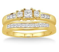 yellow gold bridal sets 0 5 carat three trilogy princess cut bridal set in