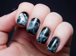 nail art day black and white midnight smoke nail art top coat