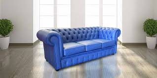 Blue Leather Chesterfield Sofa Blue Chester Vintage Style Sofa 3 Seater Sofa Designersofas4u
