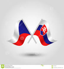 Chez Republic Flag Vector Crossed Czech And Slovak Flags On Silver Sticks Symbol Of