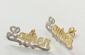 personalized name earrings personalized 14kt gold silver single plate stud name earrings
