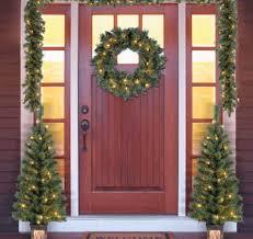 5 entryway set tree wreath garland prelit front
