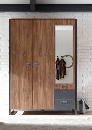 Schlafzimmerschrank Grau Kleiderschrank Dielenschrank Industrial Style 3 Türig Eiche Grau