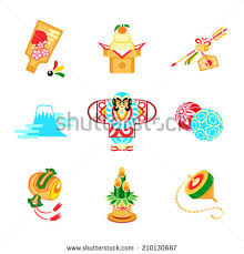New Years Decorations Japan by Japanese New Year Toys Decorations Symbols Stock Vector 210130687