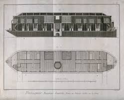 file floating public bath house cross section above and plan bel