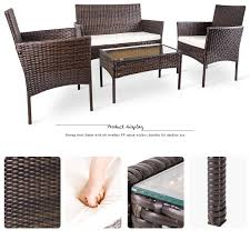 merax 4 pc outdoor garden rattan patio furniture set cushioned