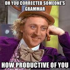 Correction Meme - willy wonka meme oh you corrected someones grammar how productive of