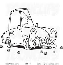 cartoon black and white line drawing of a car with a cracked