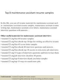 Maintenance Skills For Resume Top8maintenanceassistantresumesamples 150409002428 Conversion Gate01 Thumbnail 4 Jpg Cb U003d1428557112