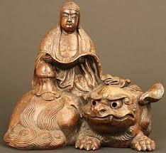 shishi statue kannon and shishi edo period bizen ceramic sculpture item 697160