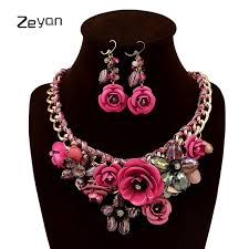 pink flower collar necklace images Flower collar crystal choker necklace for girls with earrings sets jpg