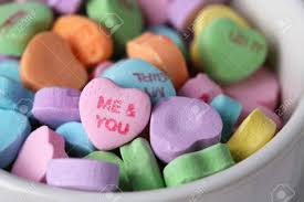 valentines day candy hearts valentines day candy hearts in a white bowl stock photo picture