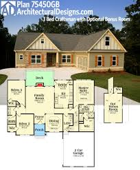 one story floor plans with bonus room plan 75450gb 3 bed craftsman with optional bonus room