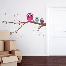 Owl Wall Sticker Patterned Owls On A Branch Wall Sticker Set By Spin Collective
