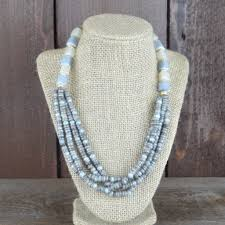 multi layered beaded necklace images Grey multi layer beaded necklace rhea of light JPG