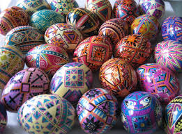 ukrainian easter egg supplies bright pysanka in golden and purple ukrainian easter eggs and