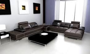 Two Sofa Living Room Casa Phantom Modern Espresso Leather Sectional Sofa W Two