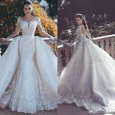 bridal gown 2018 mermaid lace wedding dresses with backless detachable