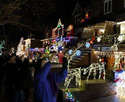 dyker heights brooklyn christmas lights all lit up like a christmas tour dyker lights with a slice of