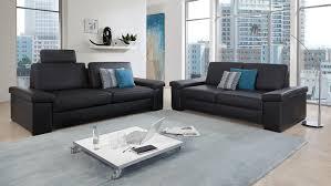sofa garnitur 3 teilig puzzle 3 2 in lederlook schwarz mit federkern 2 teilig