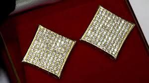 jojo earrings gold plated 925 silver diamond shaped kite hip hop earrings