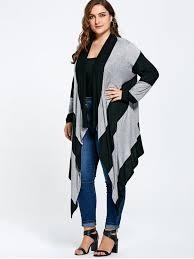 striped plus size asymmetric cardigan black and gray plus size