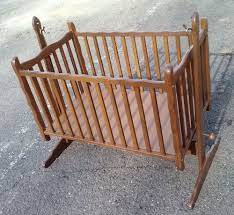 Baby Crib Mattress Sale Antique Vintage Wood Baby Nursery Rocking Cradle Crib Bed Up