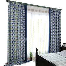 Navy Patterned Curtains Navy Blue Geometric Patterned Funky Curtains For Bedroom