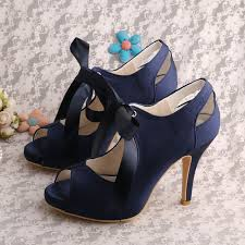 wedding shoes navy blue wedopus navy blue lace up wedding shoe open toe satin for