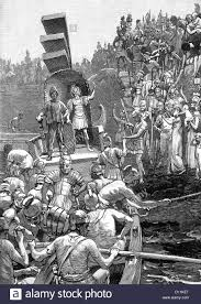 illustration of roman soldiers leaving britain 410a d stock photo