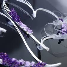 deco mariage voiture en rotin avec fleur parme pour décoration de voiture de mariage x